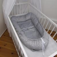 HNÍZDEČKO pro miminko s MINKY - DVOJHVĚZDIČKY bílé
