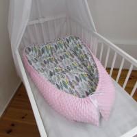 HNÍZDEČKO pro miminko s MINKY - PEŘÍ růžové