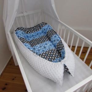 HNÍZDEČKO pro miminko s MINKY - KAPKY šedomodré
