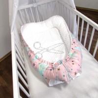 HNÍZDEČKO pro miminko s MINKY - MRAK a MĚSÍČEK na RŮŽOVÉM