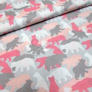 metráž - MEDVĚD růžový  š.160cm